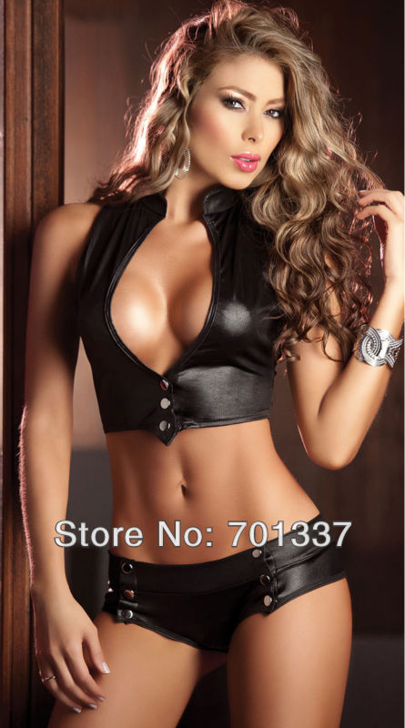 Ladies Sexy Lingerie Club Top + Hot Pants Dance Club Party Wear R1201 Black ,Pink lingerie top