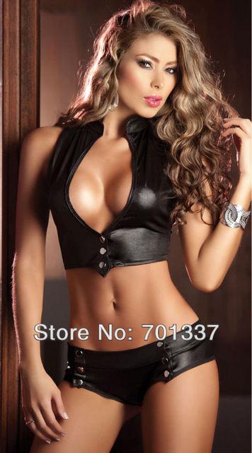 Ladies Sexy Lingerie Club Top Hot Pants Dance Club Party Wear R1201 Black Pink