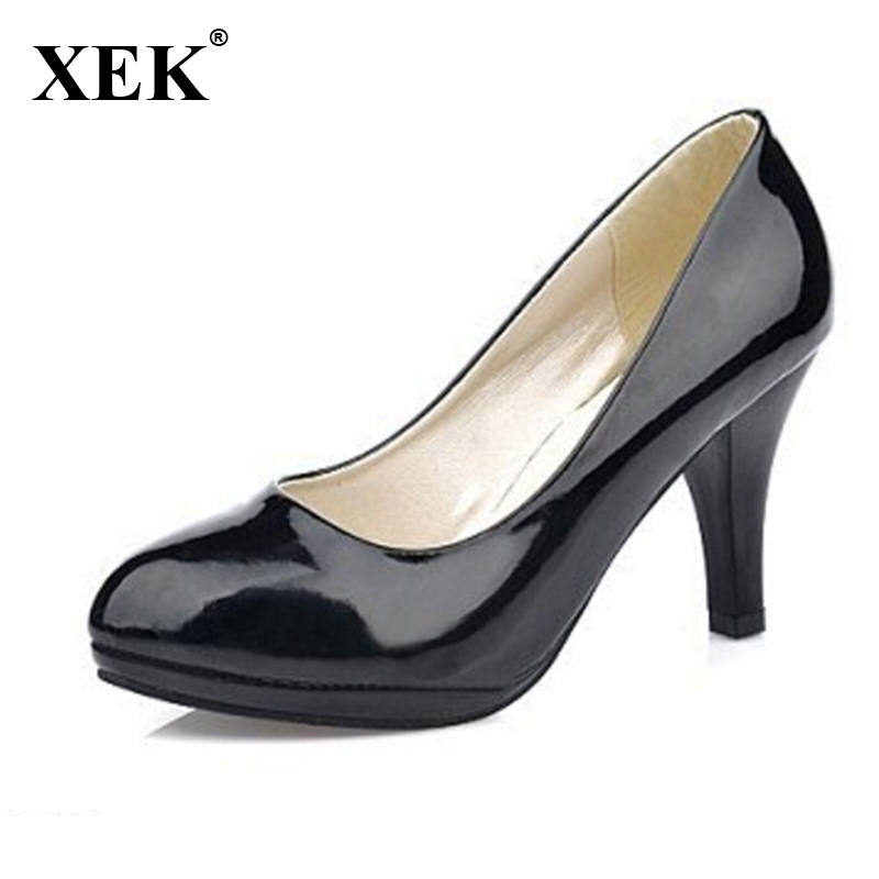 New Fashion Shoes Women Ladies Stiletto High Heels Office Court Synthetic Leather Platform Women Pumps zapatos mujer tacon 09E2