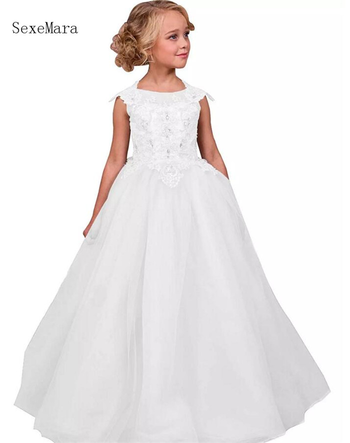 Lovely Ball Gown Tulle Flower Girl Dresses Lace Lace Up Back Kids Pageant Dresses Birthday Party Gown Robe fille fleurLovely Ball Gown Tulle Flower Girl Dresses Lace Lace Up Back Kids Pageant Dresses Birthday Party Gown Robe fille fleur