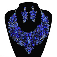 New Arrival Royal Blue color statement necklace sets For bridal wedding jewelry earrings party flower Dress Accessories