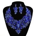 Nova Chegada conjuntos de colar declaração de cor Azul Royal Para O casamento de noiva brincos de jóias do partido da flor Acessórios Vestido