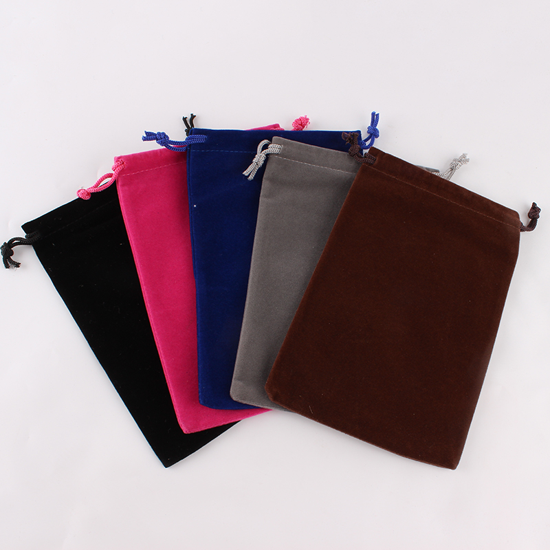 100pcs/lot 12*18cm Customized Logo Printed Wedding Favor Velvet Drawstring Pouch Packing Bags