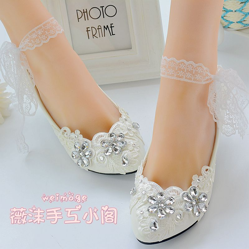 ФОТО Wedding Shoes Bridal/Bridesmaid Shoes White embroidered straps medium Heel Shoes dance Shoes Women Pumps Free Shipping