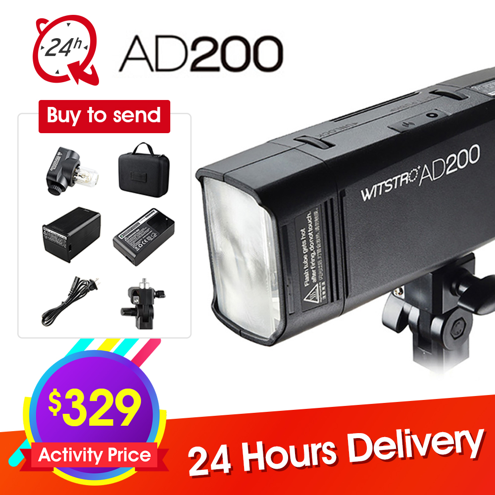цены GODOX AD200 TTL 2.4G HSS 1/8000s Pocket Flash Light Double Head 200Ws with 2900mAh Lithium Battery Strobe Flash