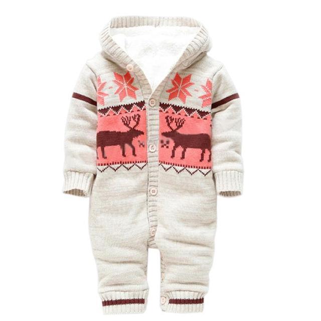 Mamelucos del bebé de Invierno Gruesa Ropa de Escalada Recién Nacido Niños Niñas Mameluco Caliente de Punto Suéter Ciervos de la Navidad Con Capucha Outwear CL0491