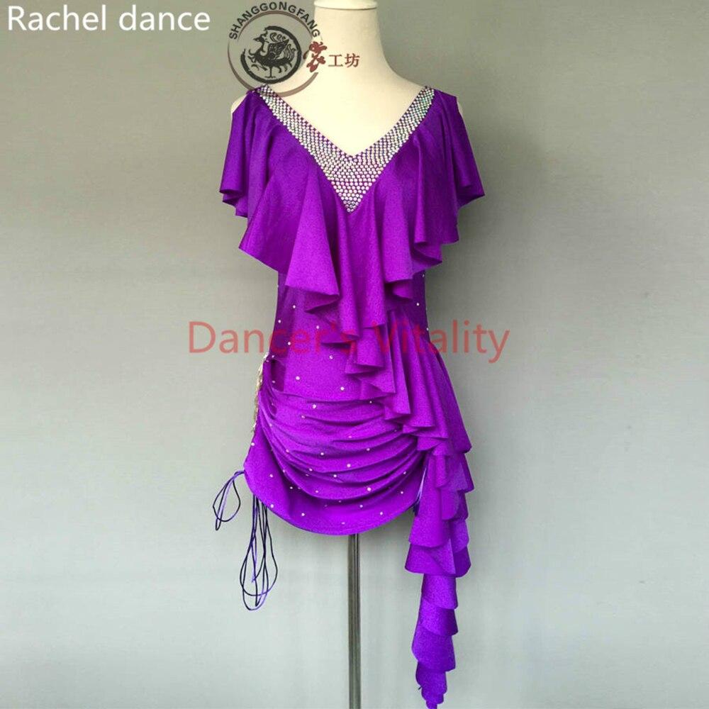 Fashion Women Sleeveless V-neck Purple Latin Dance Dress Rumba Skirt One Piece Stage Costume Salsa Samba Ballroom Tango Dresses