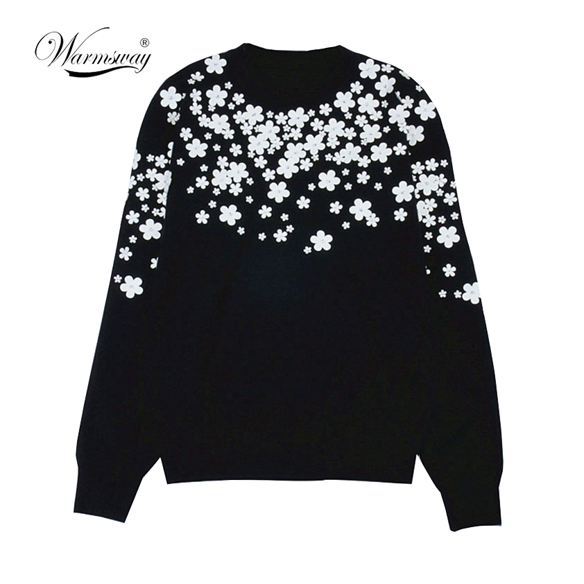 Women Fashion Pullover White Floral 3D Beading Slim Autumn Winter Sweater Simple Vintage Knitted Top Slim Blusas C-034