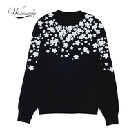 Women Fashion Pullover white floral 3D beading Slim Autumn Winter Sweater Simple Vintage Knitted Top Slim blusas C 034