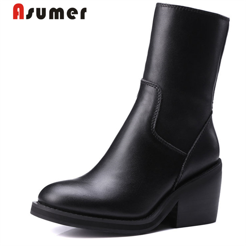 ASUMER 2018 LADY round toe ankle boots high quanlity fashion simple adult autumn boots high heels solid genuine leather bootsASUMER 2018 LADY round toe ankle boots high quanlity fashion simple adult autumn boots high heels solid genuine leather boots