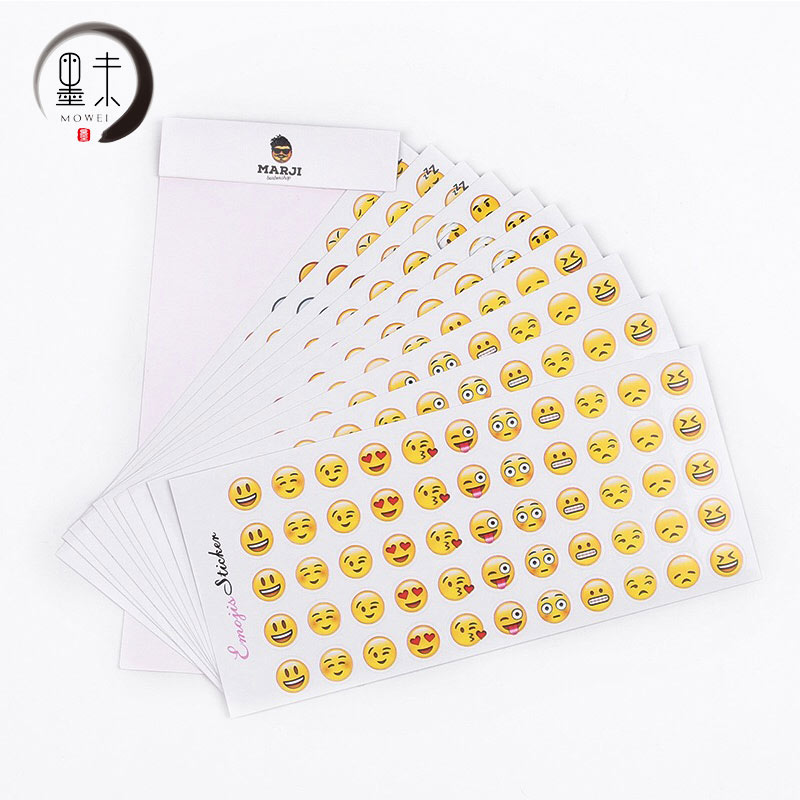 MOWEI 12Pcs Cute For QQ Expression Stationery Sticker Above 6 Years Old School Record Remind Decorate Humor Childrens Sticker