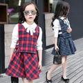 Conjuntos de Roupas meninas Xadrez Coletes & White Blusas & Saias 3 Pcs Meninas Uniforme escolar 3 5 7 9 11 12 Anos Outono Roupa Dos Miúdos