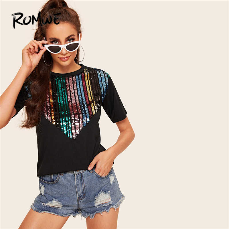 ROMWE Black Contrast Sequin Tee Women Summer 2019 Round Neck Short Sleeve Clothing Ladies Casual T-shirt Tops Streetwear