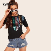 ROMWE Black Contrast Sequin Tee Women Summer 2019 Round Neck Short Sleeve Clothing Ladies Casual T-shirt Tops Streetwear недорого