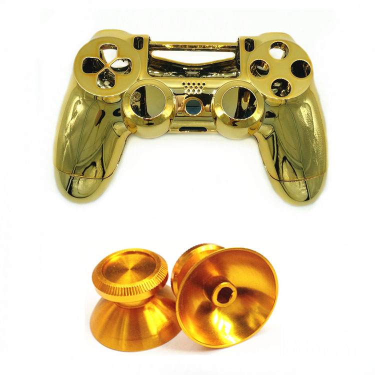 Купить с кэшбэком PS4 Chrome Case Front back Cover Housing Shell Aluminum Thumbstick Cap for Playstation 4 PS4 PS 4 DualShock 4 Controller Gamepad