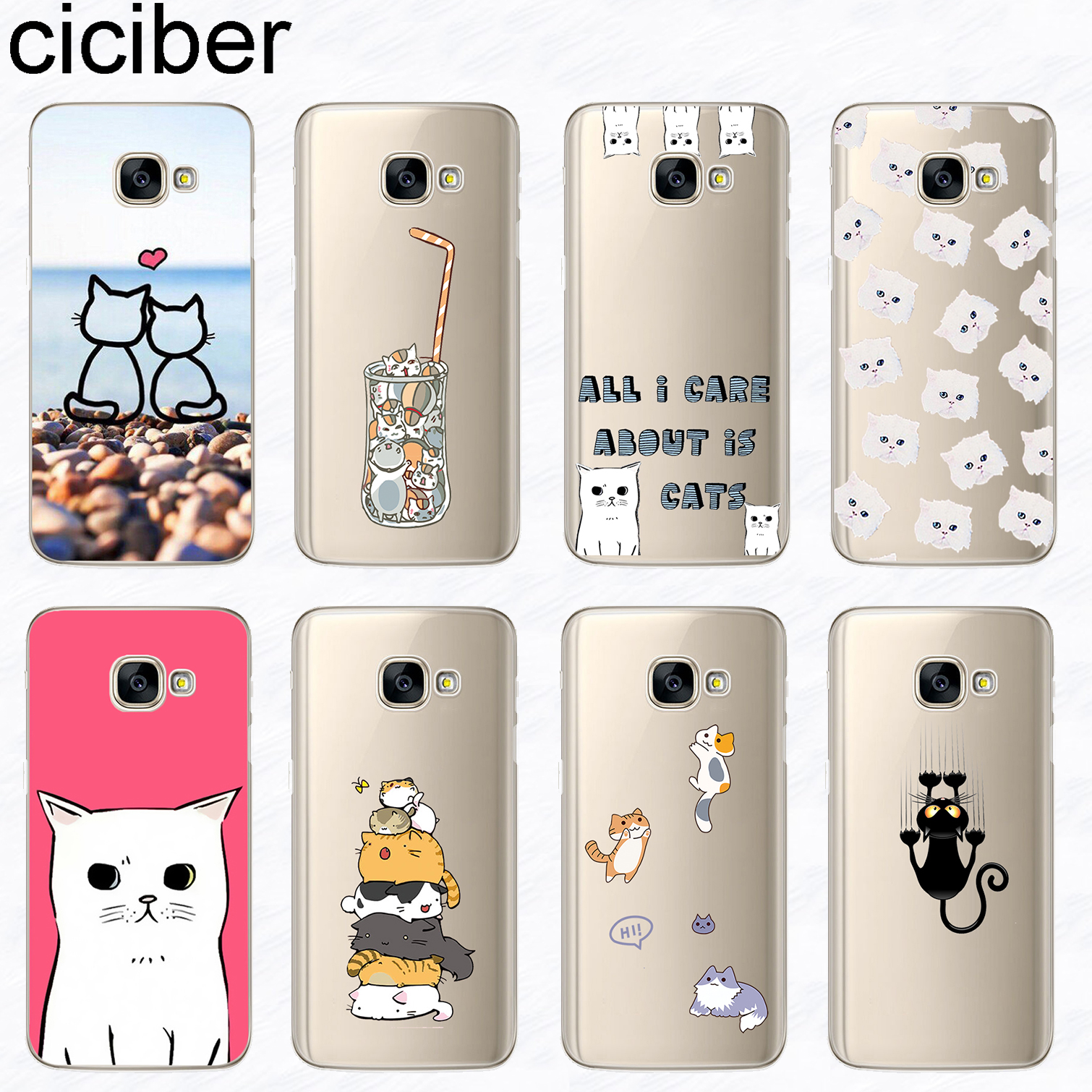 ciciber Phone <font><b>Case</b></font> for <font><b>Samsung</b></font> <font><b>Galaxy</b></font> <font><b>A8</b></font> A9 A6S Plus <font><b>2018</b></font> PRO A5 2016 A3 A7 2017 Soft Silicone Cartoon <font><b>Cat</b></font> Kitten Cover Funda image