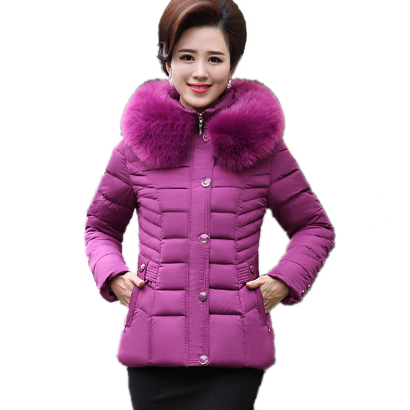Winter Middle Aged Women Thick Cotton Padded Short Fur Collar Hooded Parkas Plus Size Jacket Women Overcoat Parka TT3002 winter women medium long middle aged fur collar hooded parkas thick warm plus size coat cotton padded chaquetas mujer tt3058