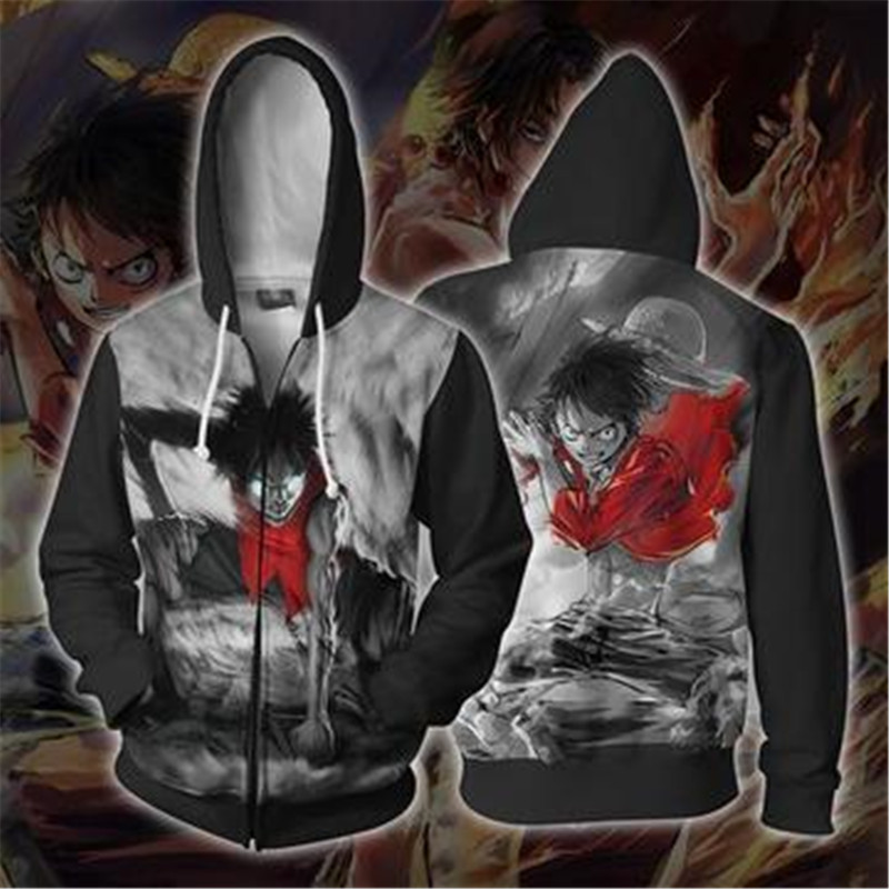 Us 18 85 18 Off Anime One Piece Zip Hoodie 3d Print Pullover Sweatshirt Monkey D Luffy Ace Sabo Kaido Battle Tracksuit Outfit Hoodies Outerwear In