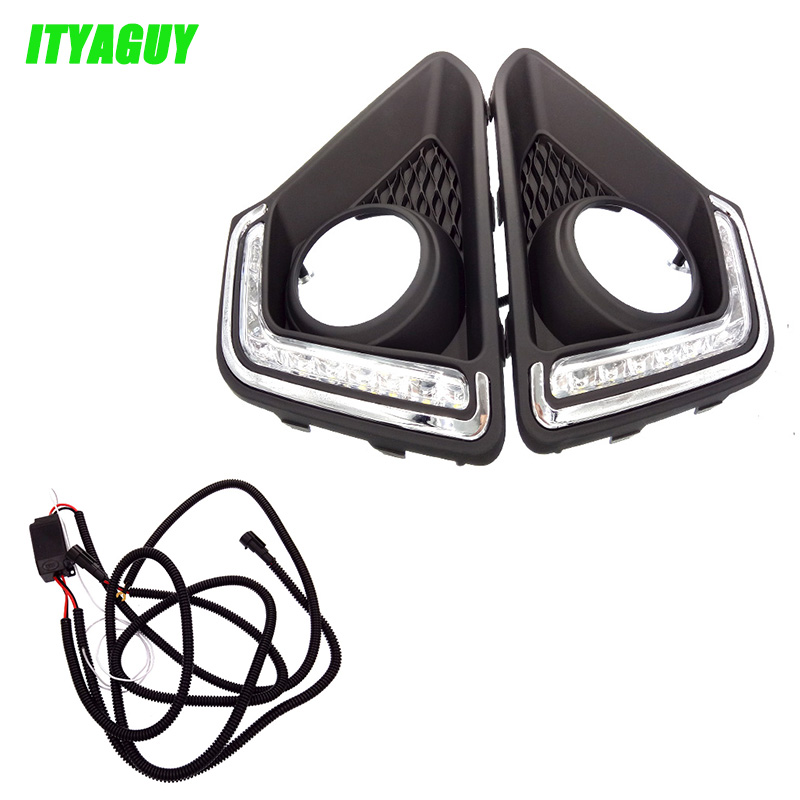 2pcs/lot Car Accessories LED DRL Daytime Running Lights Daylight Fog light LED fog lamp For Hyundai I10 2014 2015 2016 2pcs car led drl daytime running light for hyundai ix45 2013 2014 2015 fog light drl fog lamp 12 led 1pair lot