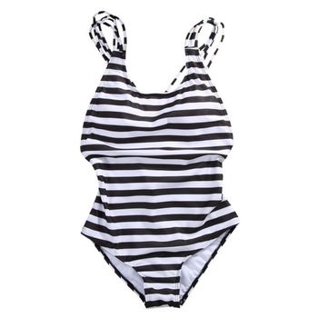 Sexy Women's Swimwear One Piece Swimsuit Monokini Striped Padded Bikini Bathing 2017 Hot Selling 1
