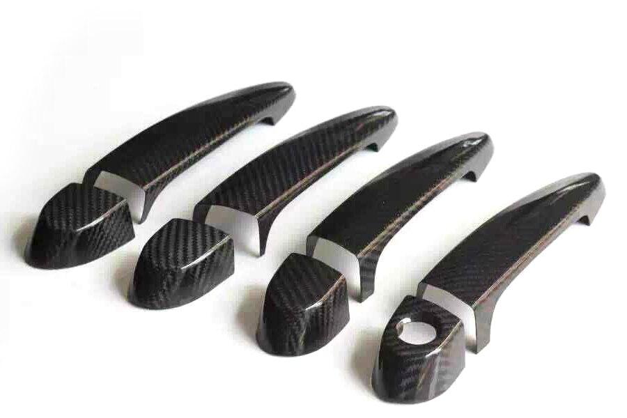 Couvercle de poignée de porte latérale en fibre de carbone avec trou de LED pour BMW série 3 F30 F35 E90 E92 E93 4 portes 2005-2015