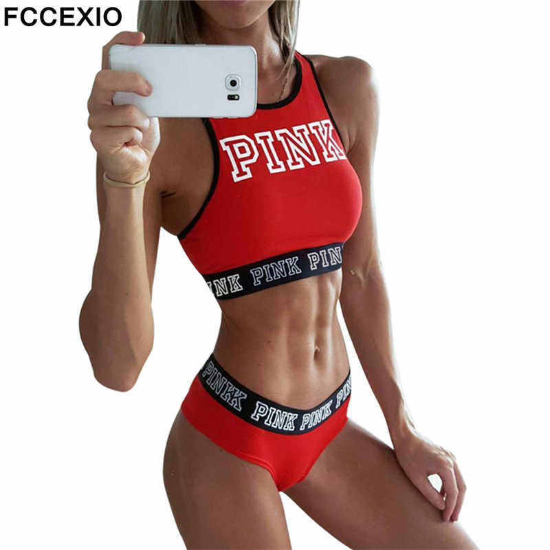 FCCEXIO 2019 New Sexy Women Tank Tops Quick Dry Tight Fitness Sleeveless Love Pink Letter Print Singlet Exercise Workout T-Shirt
