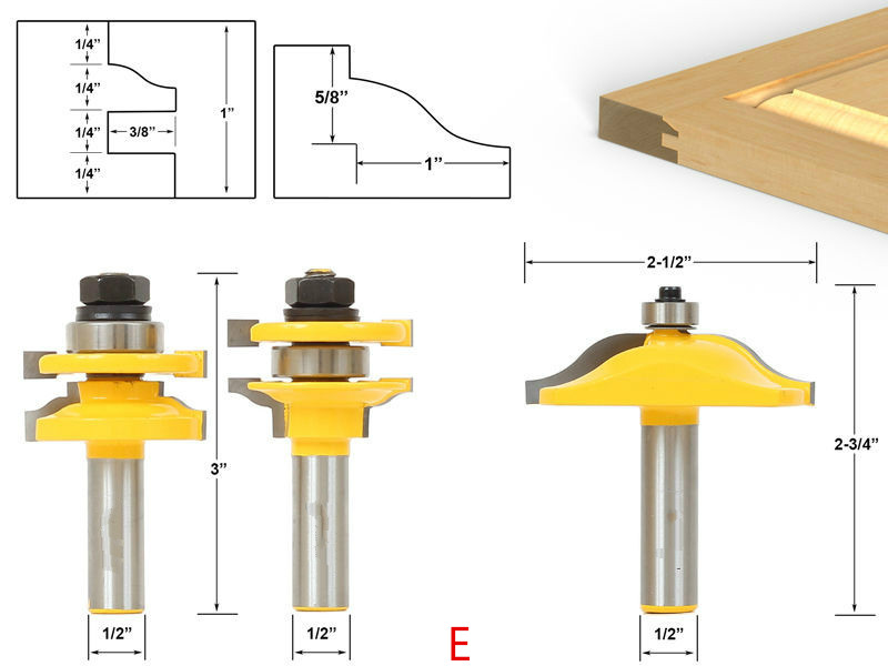 Top quality 3pcs/set Raised Panel Cabinet Door Router Bit Set - 1/2 Shank wood milling cutter/router woodworking tools/fresa 1 2 5 8 round nose bit for wood slotting milling cutters woodworking router bits