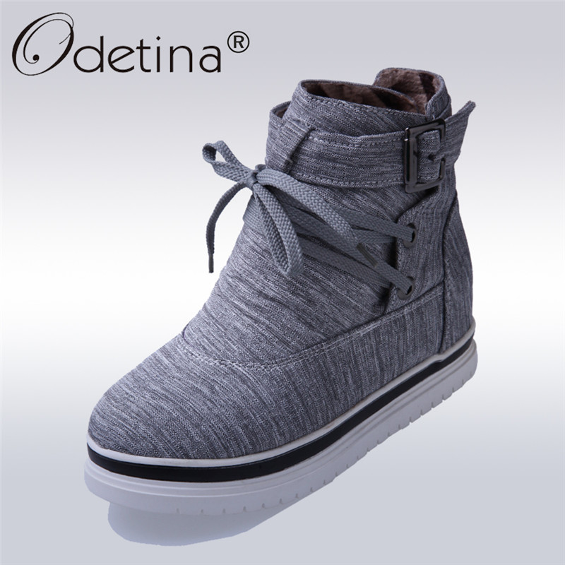 Odetina 2017 New Antumn Warm Ankle Boots For Women Cotton Fabric Lace Up Snow Boots Flat Winter Shoes Fashion Buckle Big Size 43 fashion keep warm winter women boots snow boots 2017 buckle cotton boots women boots shoes