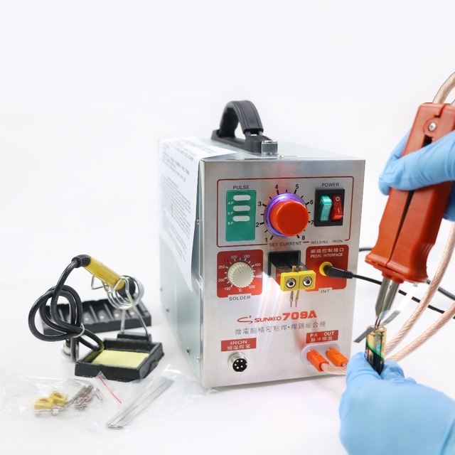 1.9kw 110V SUNKKO LED Pulse Battery Spot Welder 709A with Soldering Iron Station Spot Welding Machine 18650 16430 14500 battery