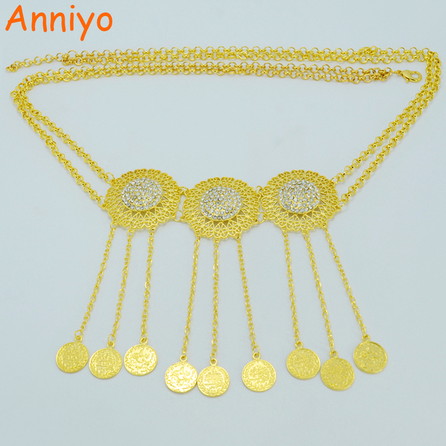Anniyo Length 102cmturkey Coin Belt Gold Color Arab Belly Jewelry