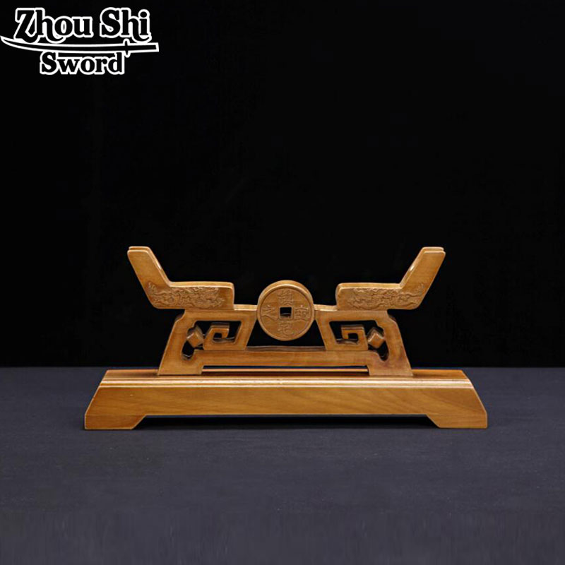Chinese wood sword rack Coins pattern Japanese Katana Sword Holder Stand Display Sword Decoration Supplies For All Swords Home
