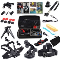 Mobile phone accessory set for go pro hero 6 5 4 kit mount for self timer storage bag chest strap helmet small ant 4k camera set