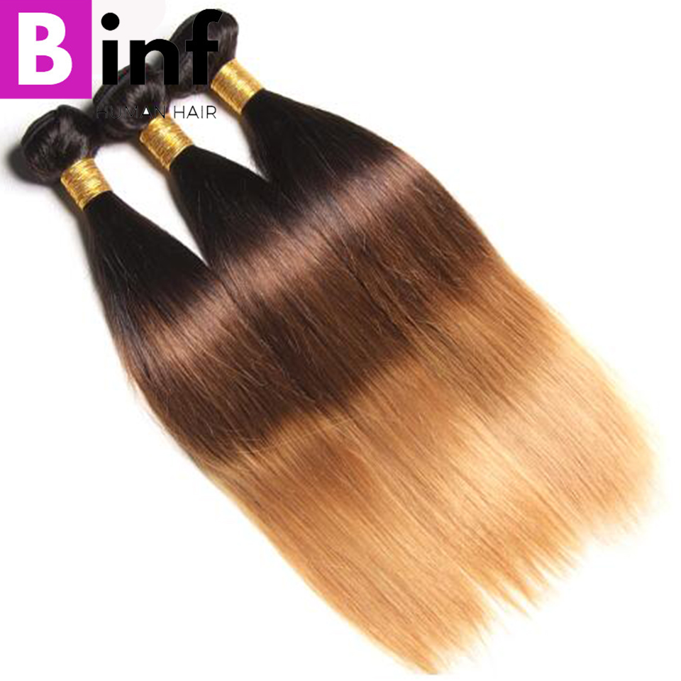 BINF Ombre Hair 3 Bundles Brazilian Straight Hair 100% Human Hair Extensions Non-Remy T1B/4/27 Ombre Hair Straight