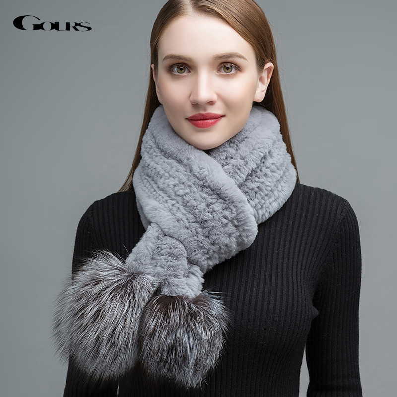 Gours Women's Real Fur Scarf Natural Rex Rabbit Fur Big Long Scarves Thick Warm Winter Fashion Silver Fox Fur Ball New GLWJ016