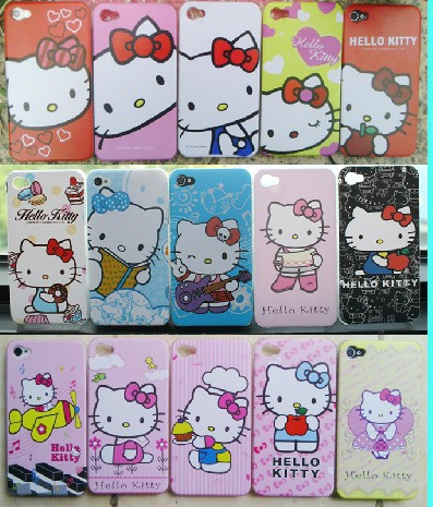 Hot sell Multi-patterns Hello kitty lovely cell phone case for iphone 4  4s  5 5G