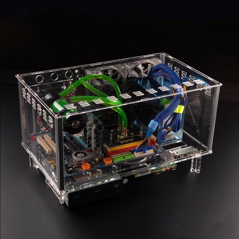 PC-D779X Colorido Horizontal QDIY ATX Caso PC Desktop Computador De Resfriamento De Água de Acrílico Transparente