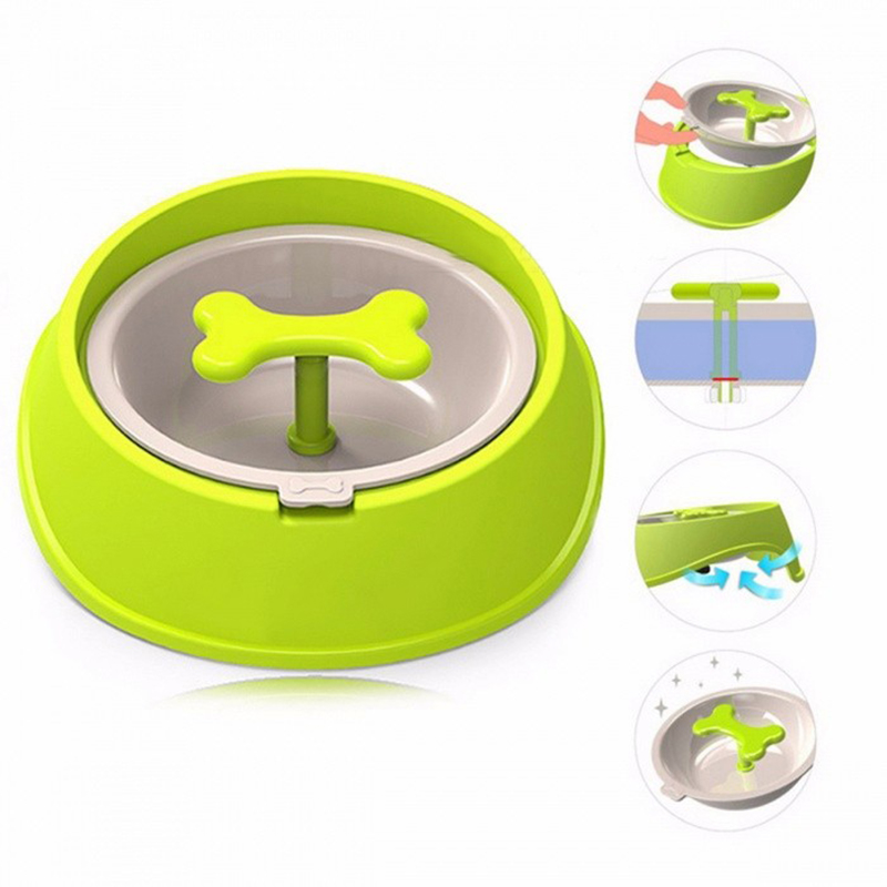 Pet Dog Cat Driking Water Fun Bone Shaped Slow Feeder Dog Food Bowls Water Bowl Dishes for Puppy Small Large Dog Cat Pet Feeding image