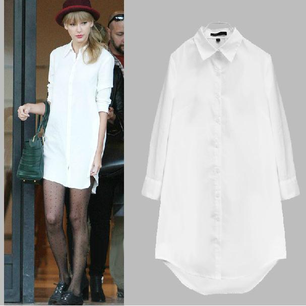 Women White Long Sleeve Loose Soft Boyfriend blouse