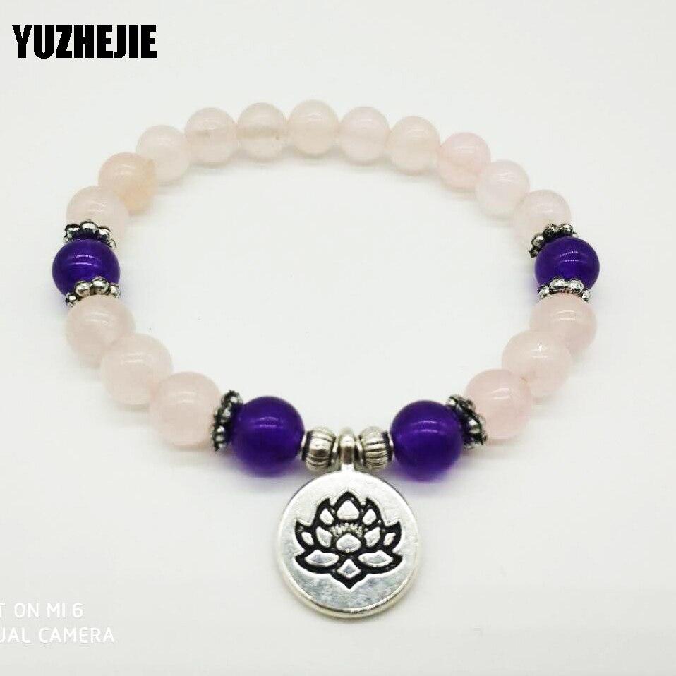 YUZHEJIE Healing Peace and Love Bracelet Women`s Yogi Jewelry Fashion Lotus Bracelet for Girl Natural Rose Pink Stone Bracelet