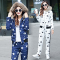 New Winter Spring Jacket Suit Autumn Warm Plus Size 2XL star printed Slim Parka Coat + Pants 2 Piece Set Women jacket s54