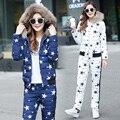 Novo Inverno Jaqueta de Primavera Terno Outono Quente Plus Size 2XL estrela impresso Magro Brasão Pants + 2 Peça Set Mulheres jaqueta Parka s54