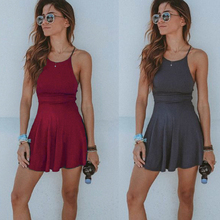 Sleeveless Solid Beach Dress