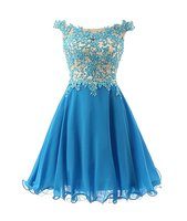 JY Dress Off Shoulder Appliques Beading Bodice Cocktail Dress Chiffon Short Prom Gown Homecoming Party Dress