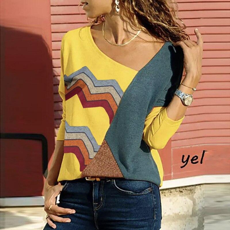 Fashion Wave Striped Patckwork   Blouse   Women   Shirts   Long Sleeve Color Block Ladies Tops Casual Loose   Shirt   Blusas Femme SJ1876M