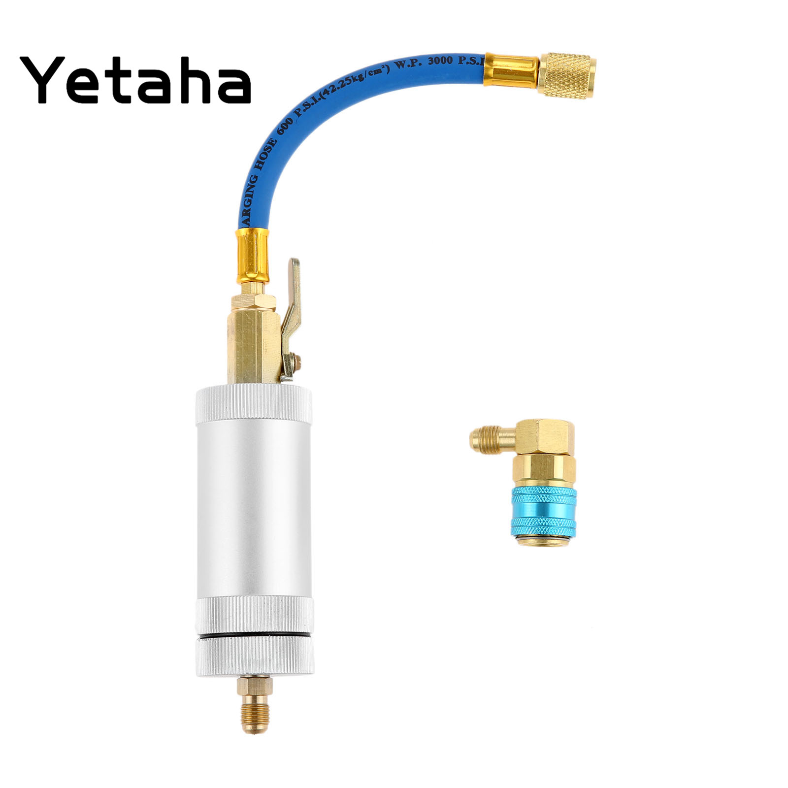 Yetaha Air Conditioning A/C Oil Injector With Coupler Adapter R134A R12 R22 Injection Tool 2OZ 1/4 Liquid Coolant Filler Tube car a c oil dye injector low r22 r134a quick coupler adapter kit injection hand turn pump oiler a c oil injector