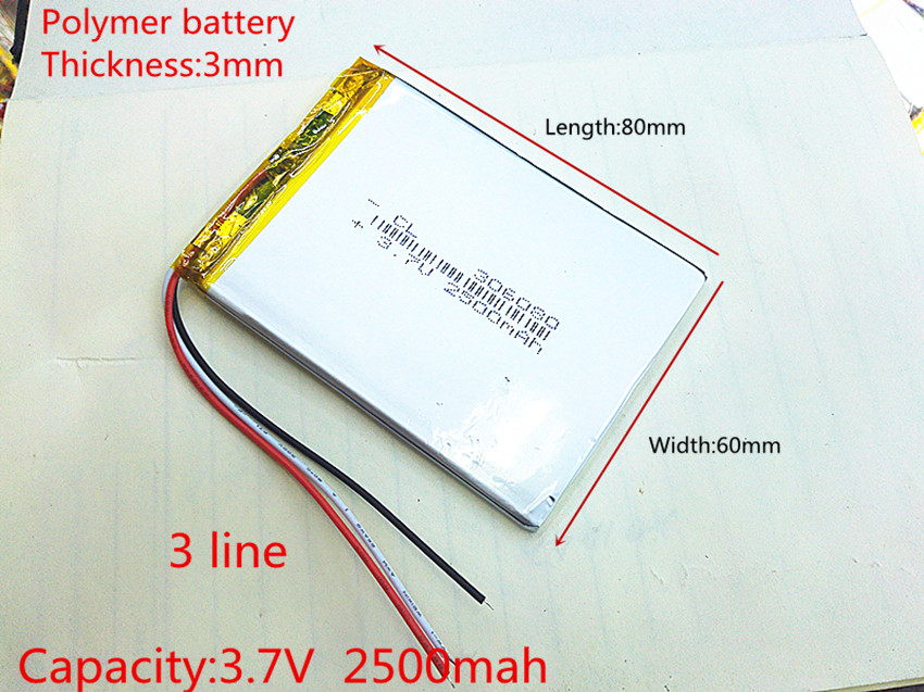 (free shipping)Polymer lithium battery 306080 3.7v 2500 mah love landing PDA smart tablet computer 3.7 v polymer 3 line free shipping 3 7 v 5000 mah tablet battery brand tablet gm lithium polymer battery 3088128