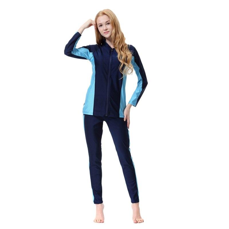 2 Style Muslim Set Women Modest Patchwork Full Cover Long Sleeve Swimsuit Islamic Hijab Islam Burkinis Wear Bathing Suit