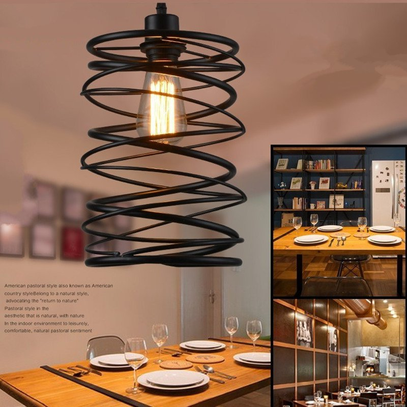 Americian Country Loft Iron Cafe Chandelier Industrial Retro Restaurant Light Spin Shade Bedroom Living Room Light Free Shipping