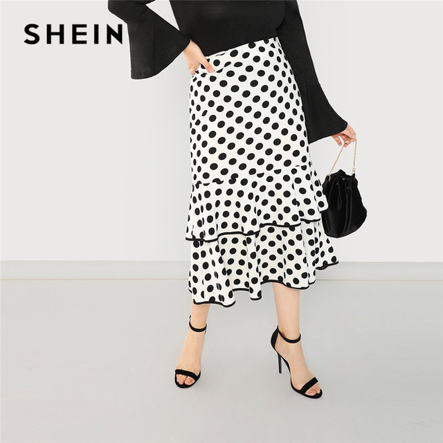 1e2df54112d US $25.0 |SHEIN Plus Size Women White Ruffle Hem Mermaid Skirt With Black  Polka Dot 2018 Fashion Stretchy Tiered Layer Trumpet Skirts-in Skirts from  ...