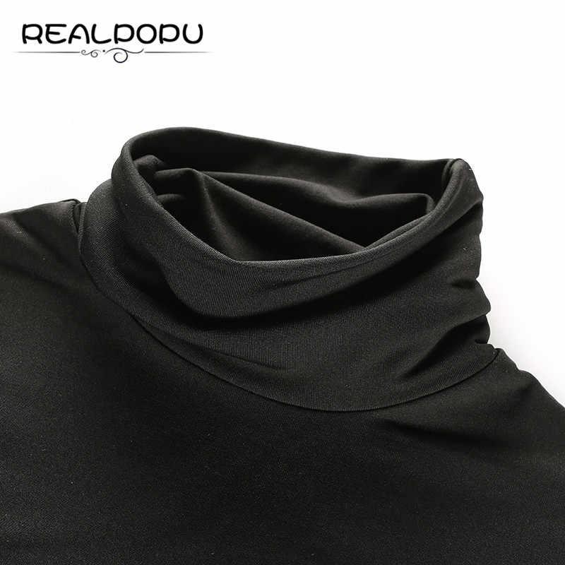 Realpopu gamuza interior caliente invierno negro body cuello alto manga larga Casual de punto Skinny Bodycon Sexy monos Romper mujeres